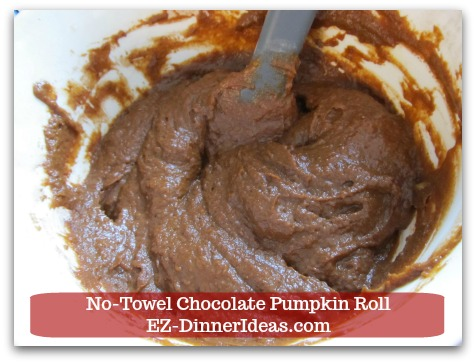Chocolate Cake Roll | No-Towel Chocolate Pumpkin Roll - Stir until all ingredients are combined well together.
