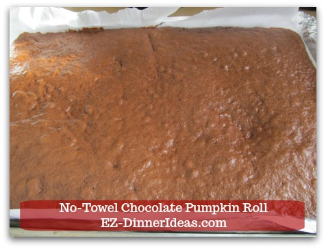 Chocolate Cake Roll | No-Towel Chocolate Pumpkin Roll - Bake for 15-17 minutes at 375F oven.