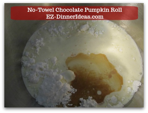 Chocolate Cake Roll | No-Towel Chocolate Pumpkin Roll - While waiting, combine whipping cream, powdered sugar and vanilla extract in a mixing bowl.