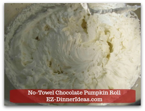 Chocolate Cake Roll | No-Towel Chocolate Pumpkin Roll - Beat cream mixture until stiff peaks form and chill in the fridge.