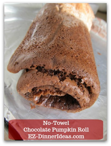 Chocolate Cake Roll | No-Towel Chocolate Pumpkin Roll - Chill cake roll in the fridge for at least 4 hours.