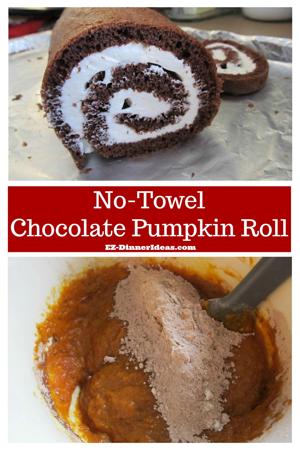 Chocolate Cake Roll | No-Towel Chocolate Pumpkin Roll