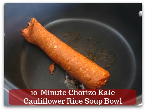 Sausage Kale Soup Recipe | 10-Minute Chorizo Kale Cauliflower Rice Soup Bowl - Preheat a soup pot at medium to medium high heat and add chorizo sausage.