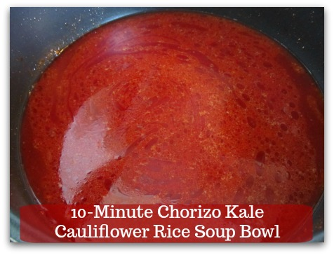 Sausage Kale Soup Recipe | 10-Minute Chorizo Kale Cauliflower Rice Soup Bowl - Do NOT let the color scare you.  It is nowhere close to what you think.  Turn to high heat and add bone broth.
