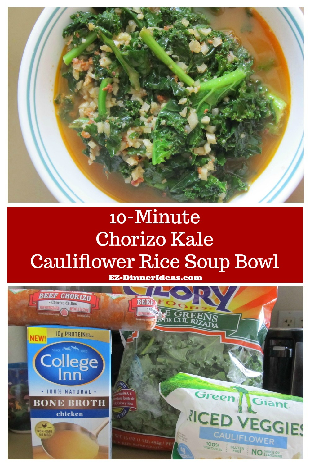 Sausage Kale Soup Recipe | 10-Minute Chorizo Kale Cauliflower Rice Soup Bowl