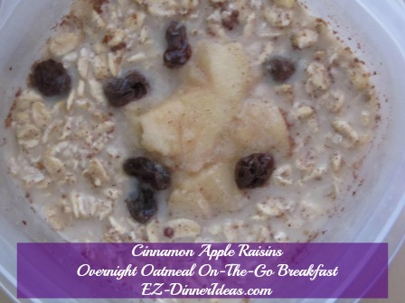 Cinnamon Apple Raisins Overnight Oatmeal On-The-Go