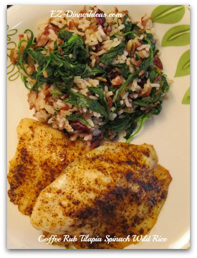Coffee Rub Tilapia with Spinach Wild Rice