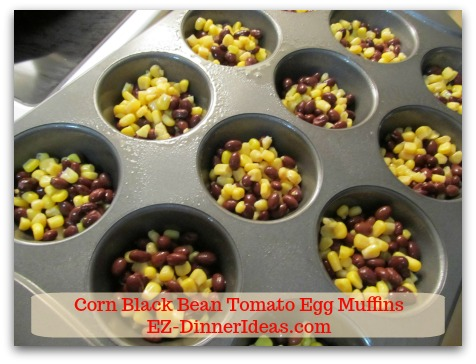 Corn Black Bean Tomato Egg Muffins - Divide the mixture evenly among the muffin cups