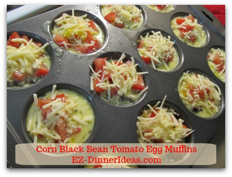 Corn Black Bean Tomato Egg Muffins - Pour egg batter in each muffin cup