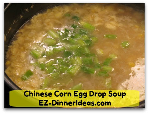 Chinese Corn Egg Drop Soup - Garnish with scallions