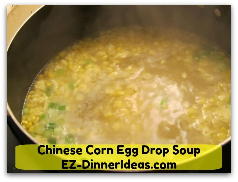 Chinese Corn Egg Drop Soup - Add soy sauce, salt and pepper to taste