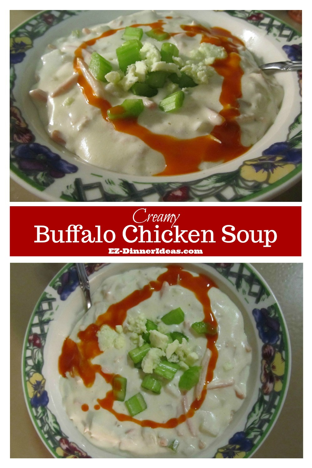 This creamy chicken soup recipe kicks up a notch.  If you love buffalo chicken, this is a perfect couch potato recipe for your comfort.