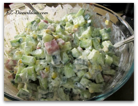 Cucumber Ham Salad - You can either use pre-diced ham or any leftover ham to finish this salad.  I love to serve this on a hot summer day and enjoy it on the couch.