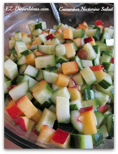 Cucumber Nectarine Salad with Strawberry Rhubarb Dressing