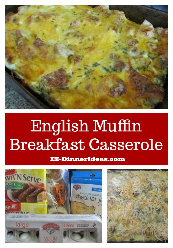 This English muffin breakfast casserole recipe is easy, tasty, filling and cheap.  How can you beat that for feeding a big crowd?