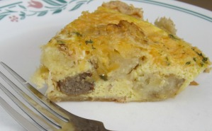 A slice of delicious Everything-in-the-breakfast quiche