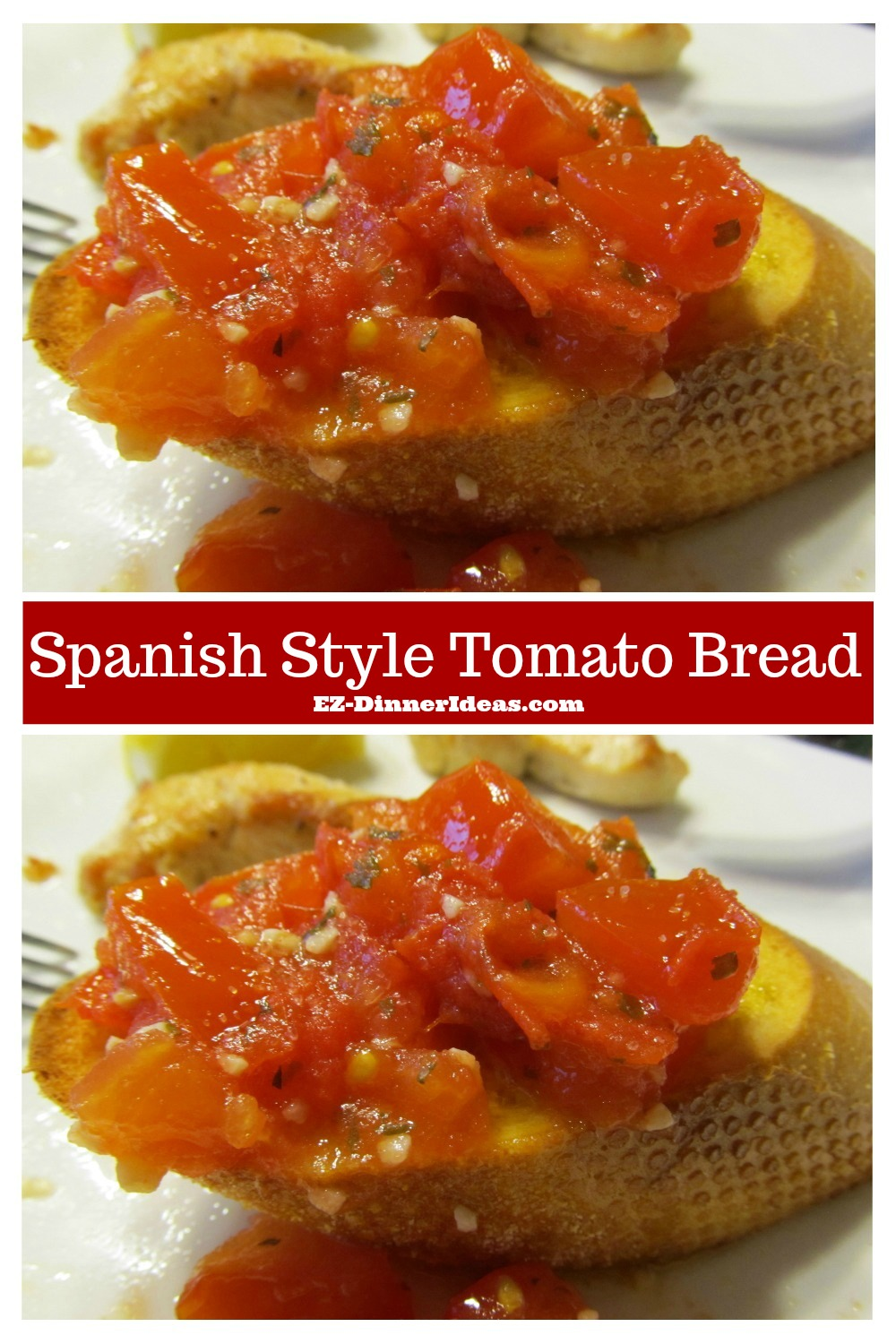 This fine dining finger food is not only great served in a party, but also as a side dish.  Enjoy the flavor explosion with this Spanish Style Tomato Bread.