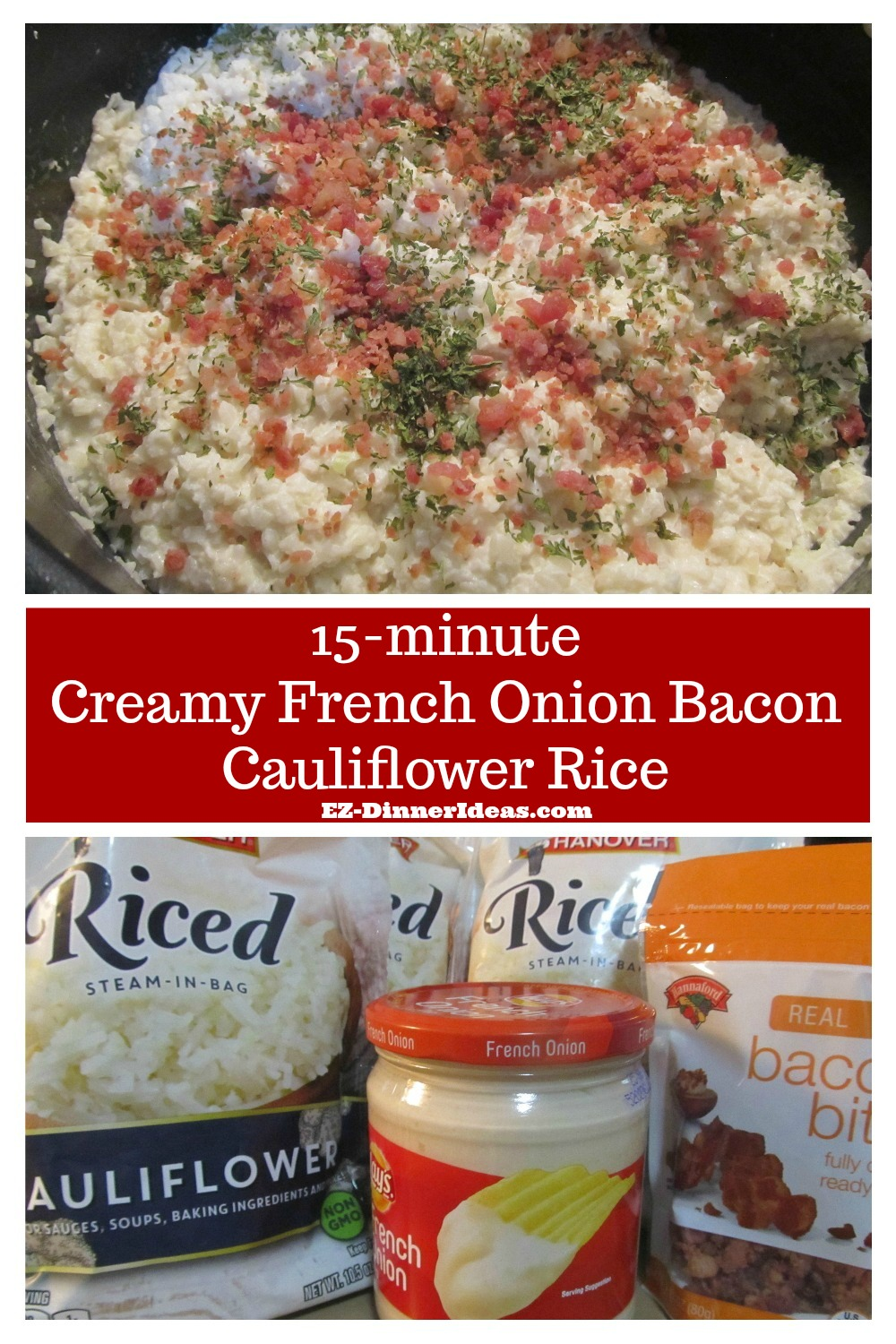 Recipe cauliflower rice only takes 3 store-bought ingredients and 15 minutes to make a quick, easy and yummy meal.