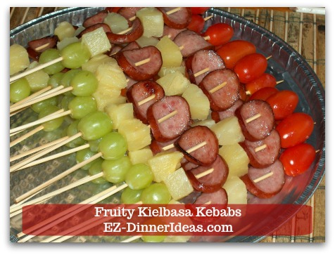 Fun Finger Food | Fruity Kielbasa Kebabs - Assemble the kebabs after kielbasa slices are cool to touch.