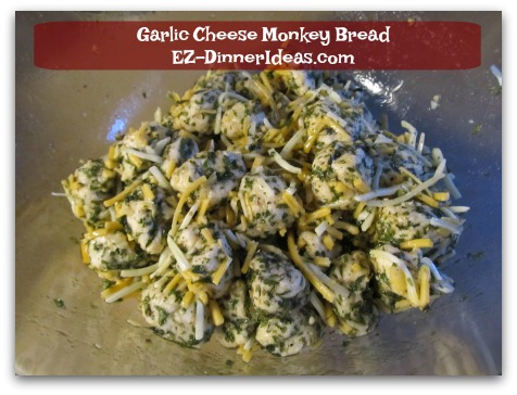 Garlic Cheese Monkey Bread - Add cheese and toss again