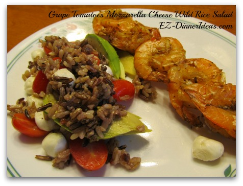 Pair this Grape Tomatoes Mozzarella Cheese Wild Rice Salad with Shrimp on the Barbie or anything from the grill