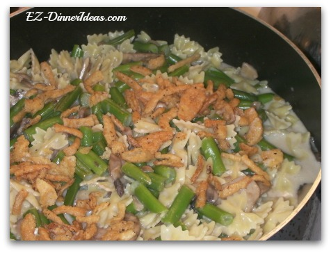 Green bean casserole pasta, a holiday side dish becomes a healthy, quick easy dinner.