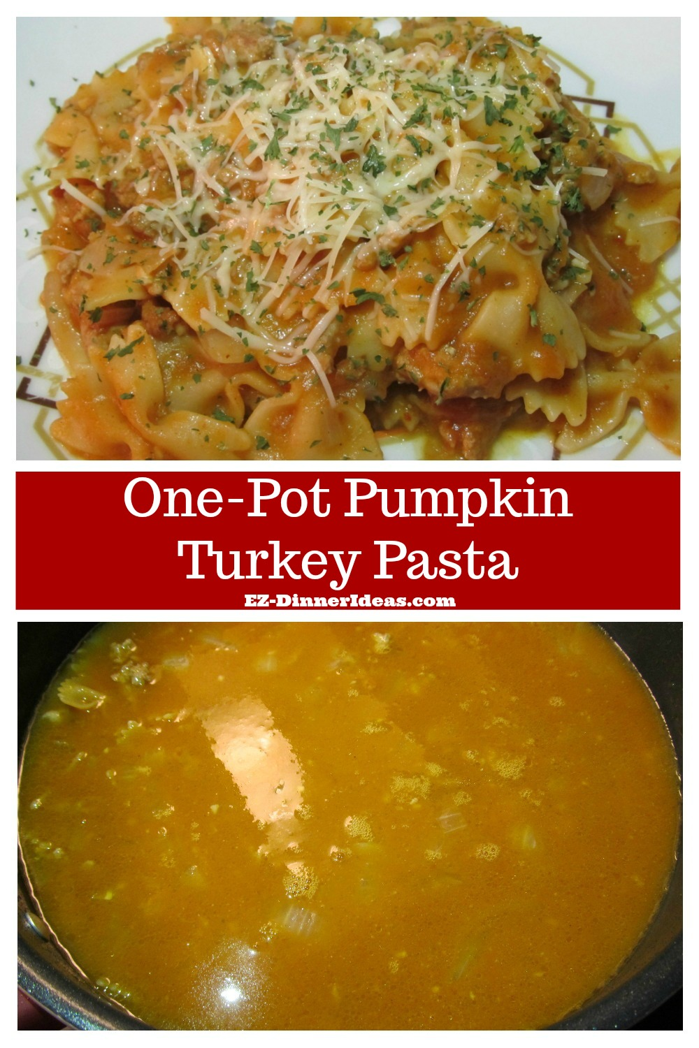 Ground Turkey Recipe | One-Pot Pumpkin Turkey Pasta - Enjoying Thanksgiving food can be any time during the year.  And it is a super quick and easy meal.  Dinner is ready in 30 minutes.