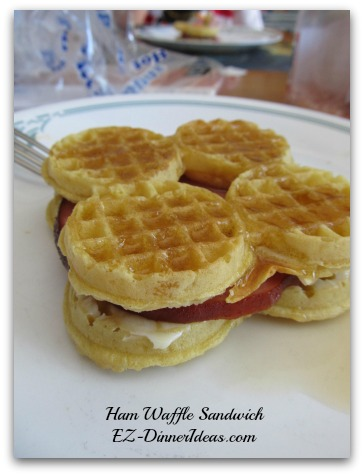 Ham Waffle Sandwich - This waffle recipe was inspired by a popular tv show.  Best of all, you can make it for one or multiple servings for an on-the-go meal.