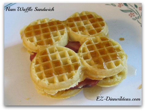Ham Waffle Sandwich - Top the sandwich with maple syrup