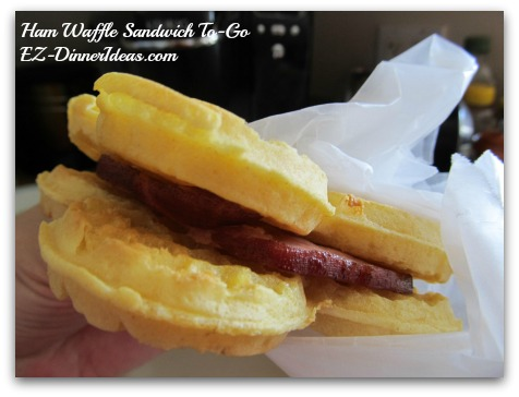 Ham Waffle Sandwich To-Go - Wrap the sandwich individually in a piece of wax or parchment paper and bring along a mini to-go cup with syrup for dipping