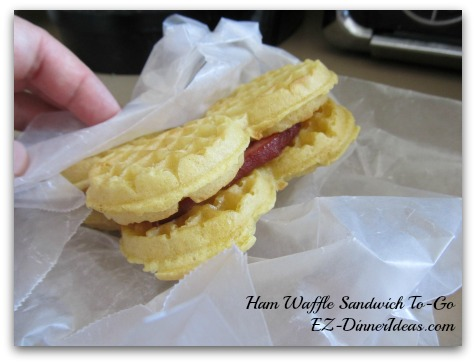 Ham Waffle Sandwich To-Go - A versatile recipe can make breakfast, dinner, snack and finger food