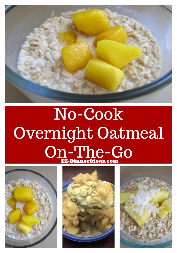 Overnight Oatmeal On-The-Go - Healthy breakfast idea can be quick, easy and yummy.  This overnight oatmeal on-the-go can be very creative.  It is filling, convenient and healthy.  What's not to love?