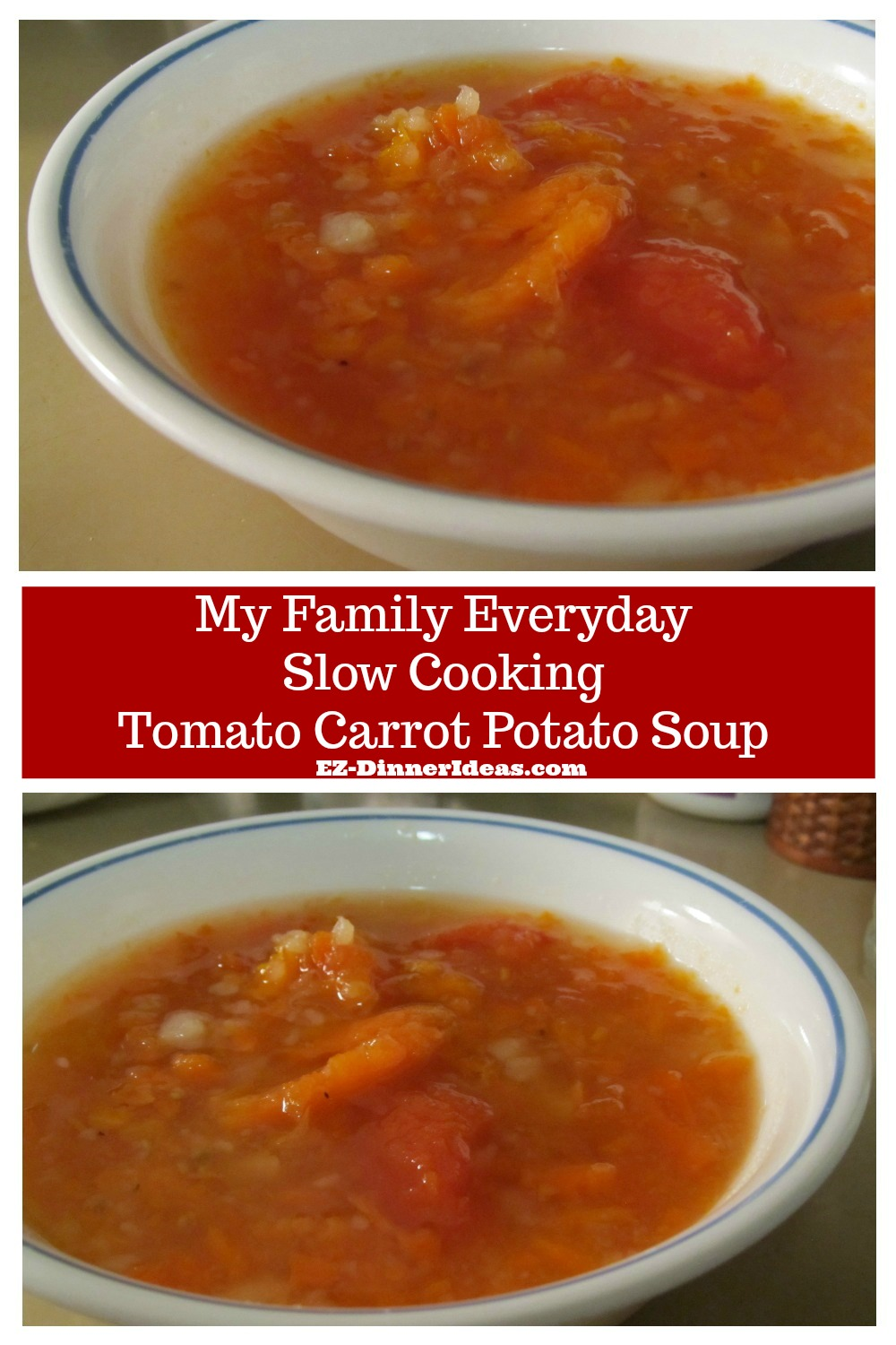 Healthy cooking 100% and all you need to do is chop and drop.  This is my family recipe everyday soup with tomato, carrot and potato.  A natural body cleaner.  Healthy and super delicious!