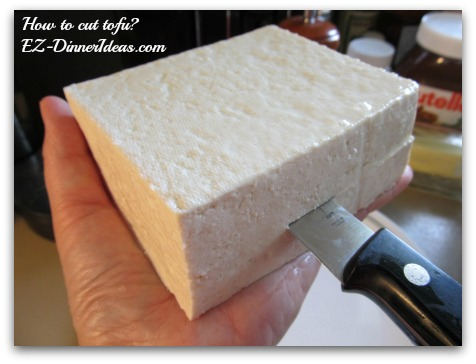 Slice tofu into halves height wise