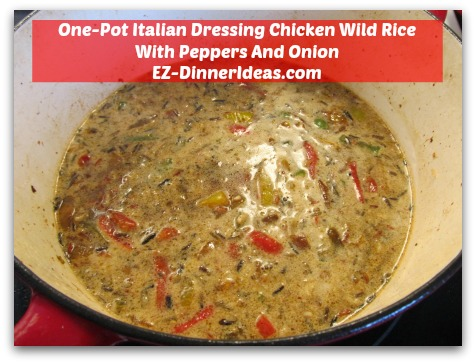 One-Pot Italian Dressing Chicken Wild Rice With Peppers And Onion - Add water and marinade leftover into rice mixture