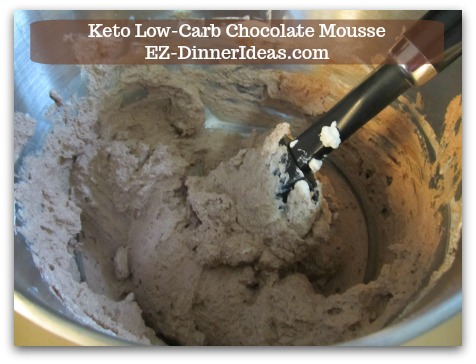 Keto Low-Carb Chocolate Mousse - Fold in cocoa powder into the remaining whipped cream until well combined into chocolate mousse