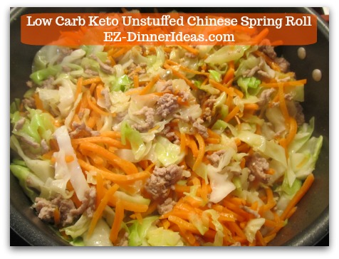 Chinese Pork Recipe | Low Carb Keto Unstuffed Chinese Spring Roll - Stir in shredded carrots