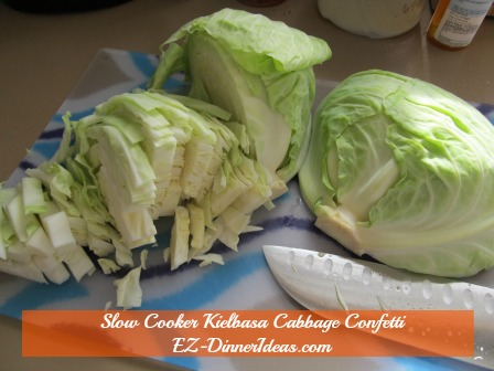 Cabbage Dinner Recipe | Slow Cooker Kielbasa Cabbage Confetti - Cored and cut cabbage