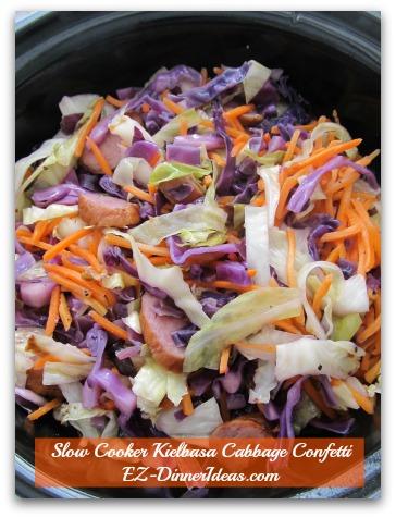 Slow Cooker Kielbasa Cabbage Confetti