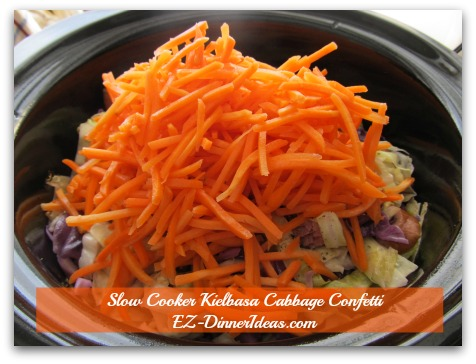 Cabbage Dinner Recipe | Slow Cooker Kielbasa Cabbage Confetti - Add carrot matchsticks the last and cook another 20-30 minutes