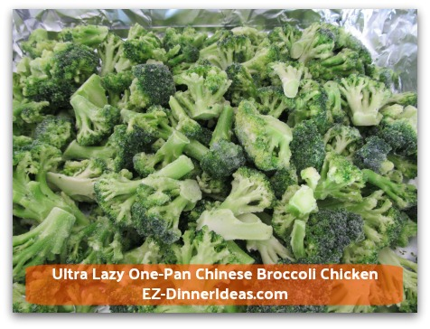 Ultra Lazy One-Pan Chinese Broccoli Chicken - In a foil lined roasting pan, single layer frozen broccoli