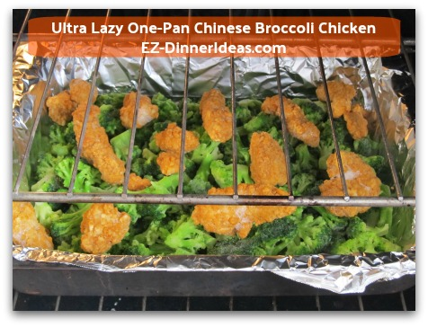 Ultra Lazy One-Pan Chinese Broccoli Chicken - Space out the frozen chicken nuggets/tender