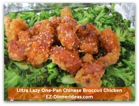 Ultra Lazy One-Pan Chinese Broccoli Chicken - Pour sauce on top of chicken,  garnish with sesame seeds and enjoy