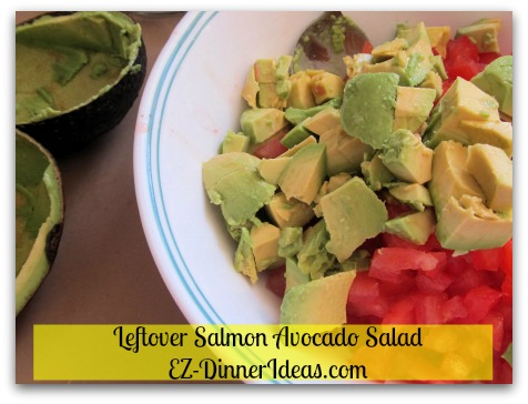 Leftover Salmon Avocado Salad - Add diced avocado and save skin for using as bowls