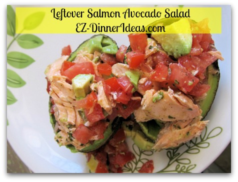 Leftover Salmon Avocado Salad - Transfer salad into avocado bowls (aka skin) and enjoy