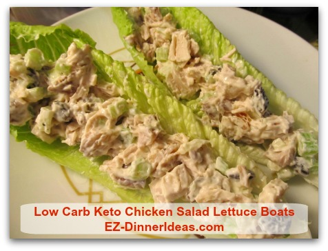 Low Carb Keto Chicken Salad Lettuce Boats - Let your family and/or guests assemble their lettuce boats.  ENJOY!