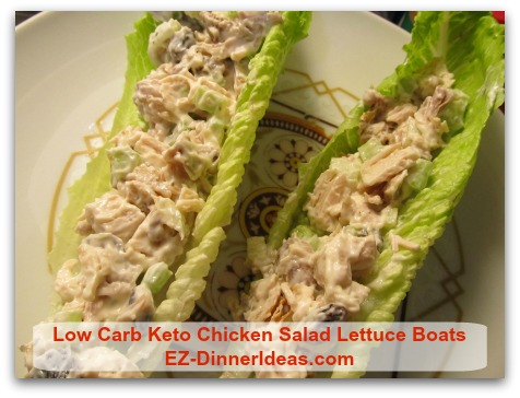 Low Carb Keto Chicken Salad Lettuce Boats - This is also a wonderful summer dinner idea.
