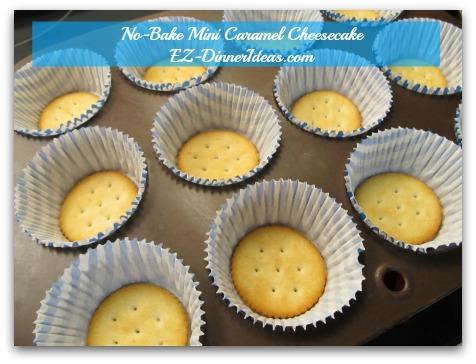 No-Bake Mini Caramel Cheesecake - Yep, Ritz cracker is the crust