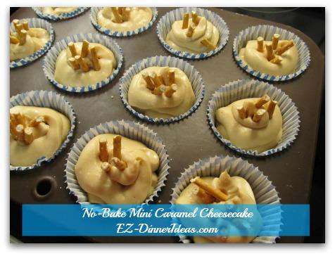 No-Bake Mini Caramel Cheesecake - Break up some pretzel sticks and garnish