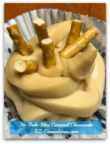 No-Bake Mini Caramel Cheesecake - Chill in the fridge for 4 hours and enjoy